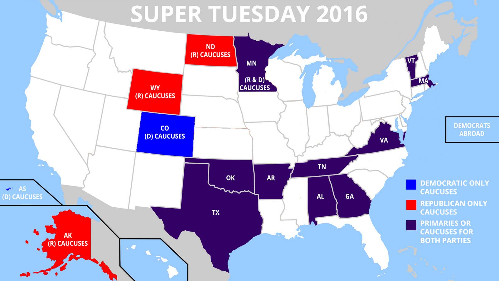 Delstaterna som röstar under Super Tuesday. Karta skapad av:  DonkeyHotey