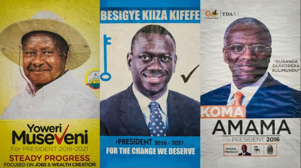 Posters för presidentkandidaterna (Källa: BBC)