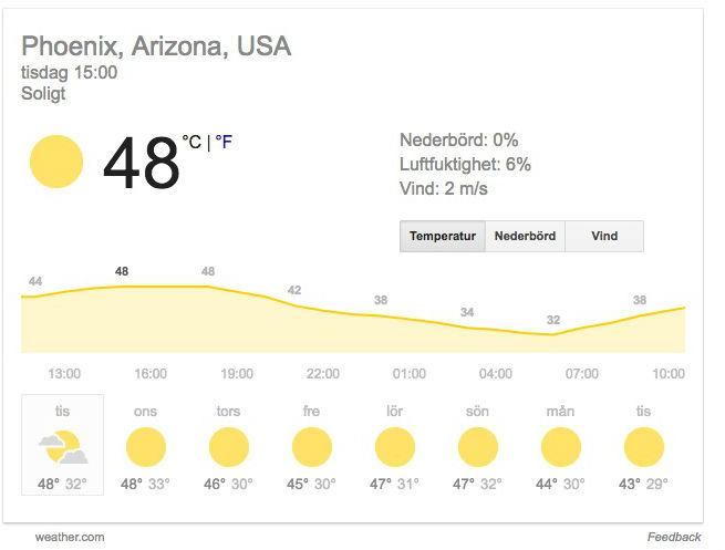 Flyg ställs in pga värmen i Arizona