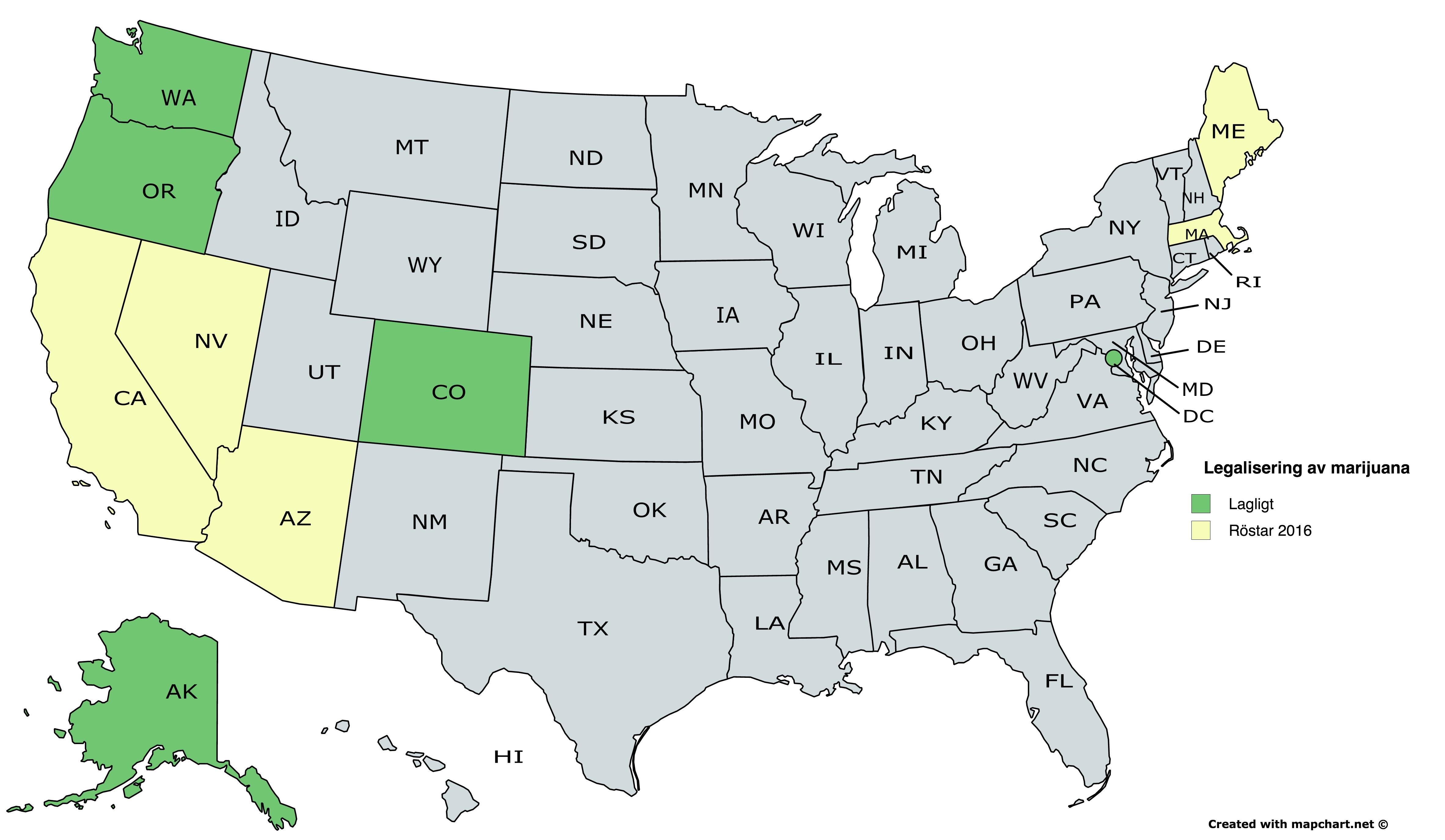 Fem delstater röstar om att legalisera marijuana