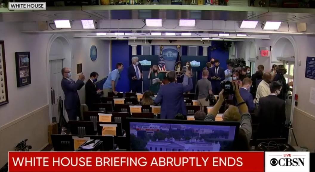 Trump avbryter presskonferens - skjutning utanför